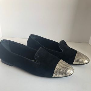 Tod's black suede flats with metal toe cap. 💕